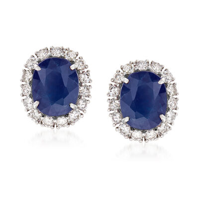 5.50 ct. t.w. Sapphire and 1.15 ct. t.w. Diamond Earrings in 18kt White Gold, , default