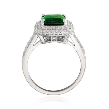 Emerald-Cut Simulated Emerald and .85 ct. t.w. CZ Ring in Sterling Silver, , default