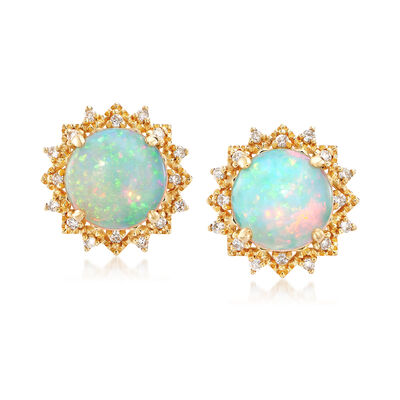 Opal and .21 ct. t.w. Diamond Earrings in 18kt Yellow Gold, , default