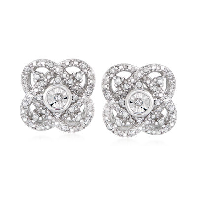 .10 ct. t.w. Diamond Flower Earrings in Sterling Silver