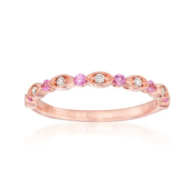 Henri Daussi .14 ct. t.w. Pink Sapphire Wedding Ring with Diamond Accents in 14kt Rose Gold