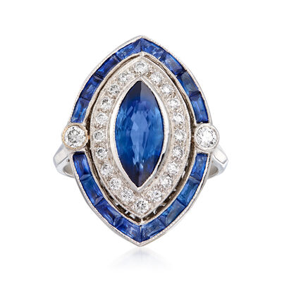 C. 1980 Vintage 3.25 ct. t.w. Sapphire and .42 ct. t.w. Diamond Ring in 18kt White Gold