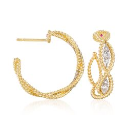 "Roberto Coin ""Barocco"" .30 ct. t.w. Diamond Braided Hoop Earrings in 18kt Yellow Gold. 3/4"", , default"