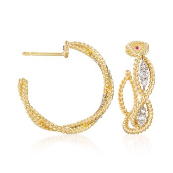 """Roberto Coin """"Barocco"""" .30 ct. t.w. Diamond Braided Hoop Earrings in 18kt Yellow Gold. 3/4"""", , default"""