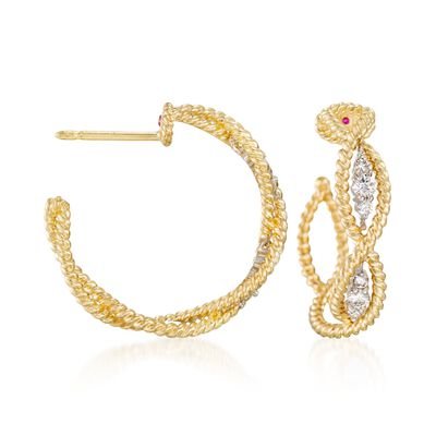 "Roberto Coin ""Barocco"" .30 ct. t.w. Diamond Braided Hoop Earrings in 18kt Yellow Gold, , default"