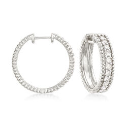 1.00 ct. t.w. Diamond Beaded Hoop Earrings in Sterling Silver, , default