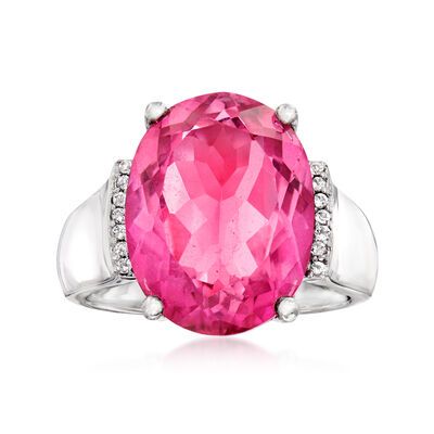 10.00 Carat Pink Topaz Ring with White Topaz Accents in Sterling Silver
