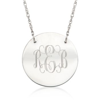 Sterling Silver Small Monogram Disc Pendant Necklace, , default