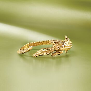 """Italian 18kt Gold Over Sterling Alligator Bypass Bangle Bracelet with Emerald Accents. 7.5"""", , default"""