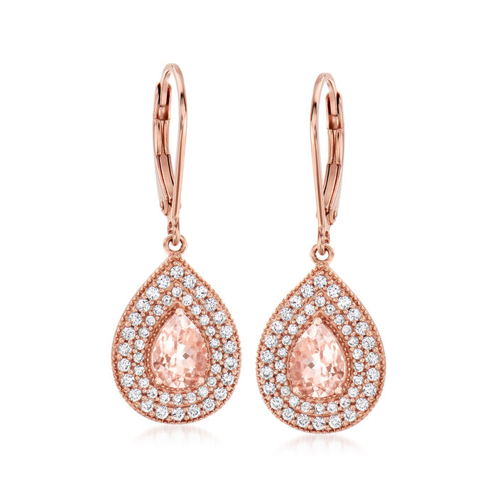 1.10 ct. t.w. Morganite and 1.30 ct. t.w. CZ Drop Earrings in 14kt Rose Gold Over Sterling