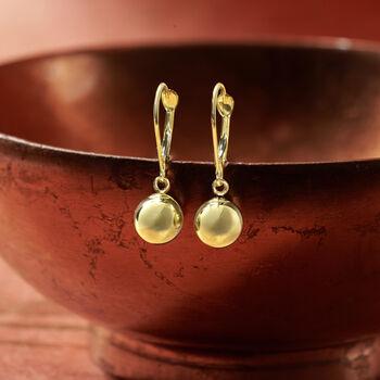 8mm 14kt Yellow Gold Shiny Drop Earrings