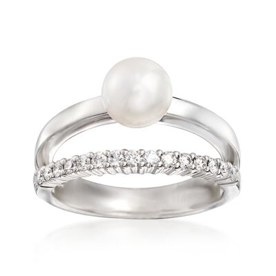 Mikimoto 7mm A+ Akoya Pearl and .23 ct. t.w. Diamond Ring in 18kt White Gold, , default