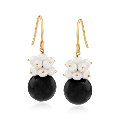 10-10.5mm Black Onyx and 3-4mm Cultured Pearl Cluster Drop Earrings in 14kt Yellow Gold, , default