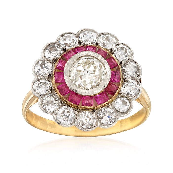 C. 1950 Vintage 1.75 ct. t.w. Diamond and .65 ct. t.w. Ruby Ring in Sterling Silver and 14kt Yellow Gold. Size 6.75