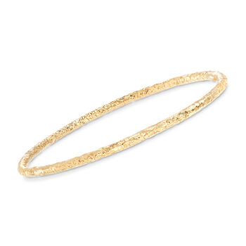 "Italian 22kt Gold Over Sterling Jewelry Set: Four Textured Bangle Bracelets. 8.5"", , default"