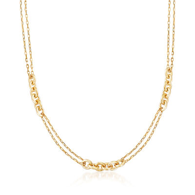 Italy 14kt Yellow Gold Rounded-Link Station Necklace, , default