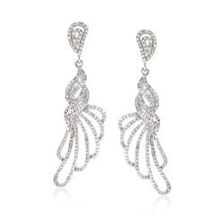 1.15 ct. t.w. Diamond Fancy Loop Drop Earrings in 14kt White Gold , , default