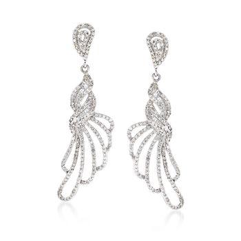 1.15 ct. t.w. Diamond Fancy Loop Drop Earrings in 14kt White Gold , , default