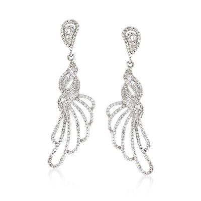 1.15 ct. t.w. Diamond Fancy Loop Drop Earrings in 14kt White Gold, , default