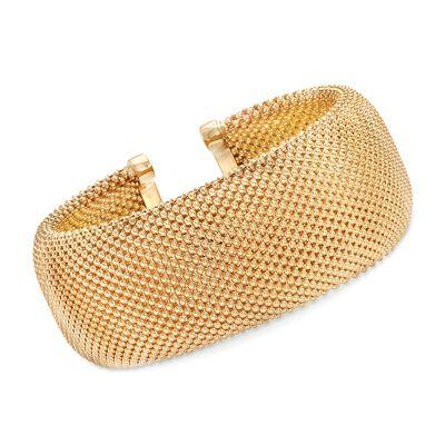 Italian 14kt Yellow Gold Wide Beaded Cuff Bracelet, , default