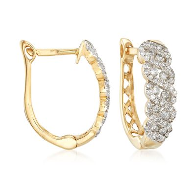 .51 ct. t.w. Diamond Hoop Earrings in 14kt Yellow Gold, , default