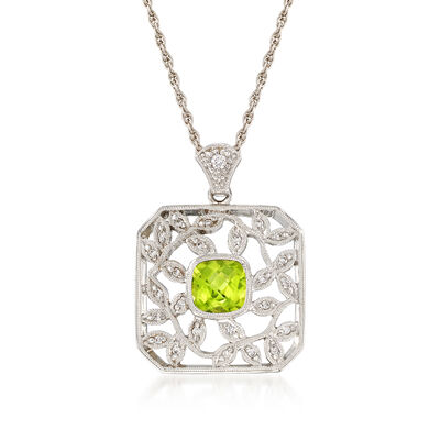 C. 2000 Vintage .80 Carat Peridot and .10 ct. t.w. Diamond Vine Pendant Necklace in 14kt White Gold, , default