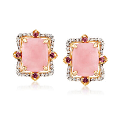 9x7mm Pink Opal Earrings with .17 ct. t.w. Diamonds and .10 ct. t.w. Purple Rhodolites in 14kt Yellow Gold, , default