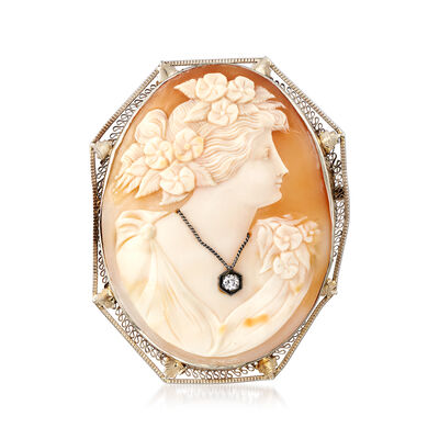 C. 1950 Vintage Oval Shell Cameo Pin Pendant with .10 Carat Diamond in 14kt White Gold, , default