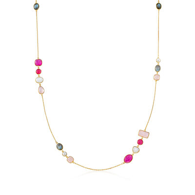 6mm Cultured Pearl and Multi-Gemstone Station Necklace in 18kt Gold Over Sterling