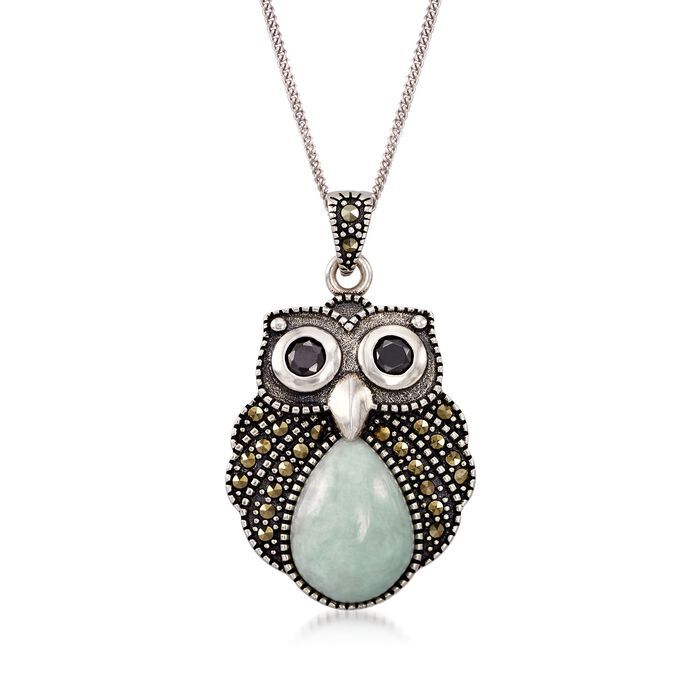 Green Jade and Marcasite Owl Pendant Necklace with Black Onyx in Sterling Silver