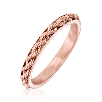 Italian 14kt Rose Gold Rope Design Ring, , default