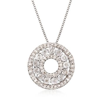""".21 ct. t.w. Diamond Open Circle Pendant Necklace in Sterling Silver. 18"""", , default"""