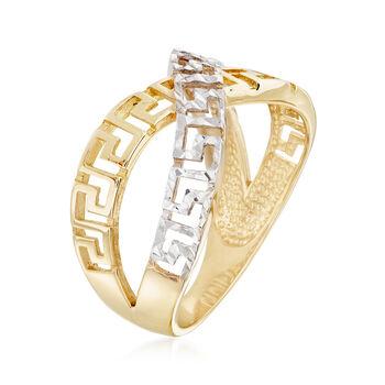 14kt Yellow Gold and White Rhodium Greek Key Crisscross Ring, , default