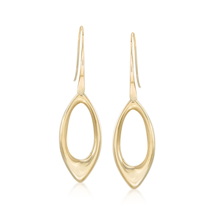 14kt Yellow Gold Open Marquise Drop Earrings , , default