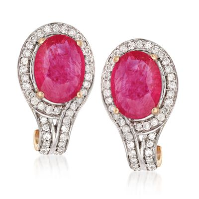 3.00 ct. t.w. Ruby and .32 ct. t.w. Diamond Earrings in 14kt Yellow Gold, , default