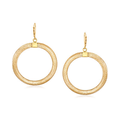 Italian Mesh Open-Circle Drop Earrings in 14kt Yellow Gold