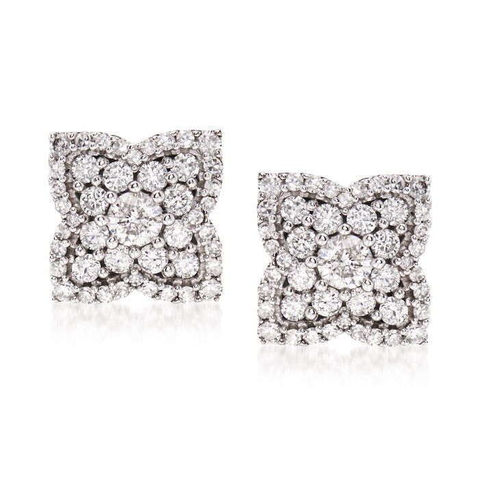1.00 ct. t.w. Diamond Flower Earrings in 14kt White Gold, , default