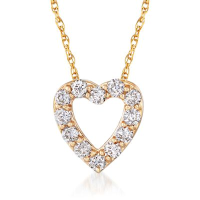 .24 ct. t.w. Diamond Heart Necklace in 14kt Yellow Gold, , default