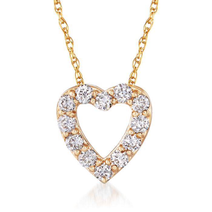 .24 ct. t.w. Diamond Heart Necklace in 14kt Yellow Gold