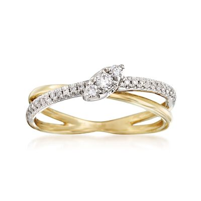 .22 ct. t.w. Diamond Crisscross Ring in 14kt Two-Tone Gold , , default
