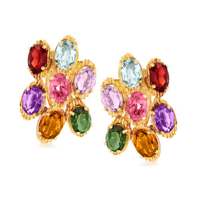 C. 1980 Vintage 9.90 ct. t.w. Multi-Gemstone Cluster Earrings in 18kt Yellow Gold, , default