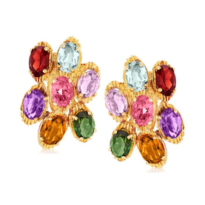 C. 1980 Vintage 9.90 ct. t.w. Multi-Gemstone Cluster Earrings in 18kt Yellow Gold