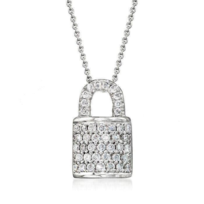 """Roberto Coin """"Tiny Treasures"""" .45 ct. t.w. Diamond Padlock Necklace in 18kt White Gold"""