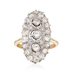 C. 1915 Vintage 1.30 ct. t.w. Diamond Dinner Ring in 14kt Two-Tone Gold, , default