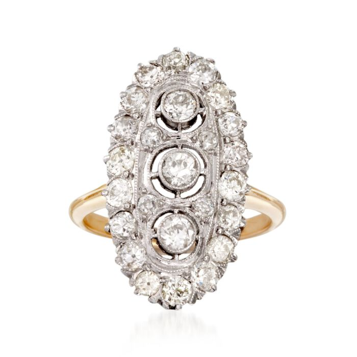 C. 1915 Vintage 1.30 ct. t.w. Diamond Dinner Ring in 14kt Two-Tone Gold. Size 5.75, , default