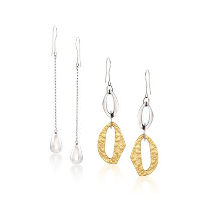 Stainless Steel and Gold Plate Jewelry Set: Two Pairs of Drop Earrings, , default