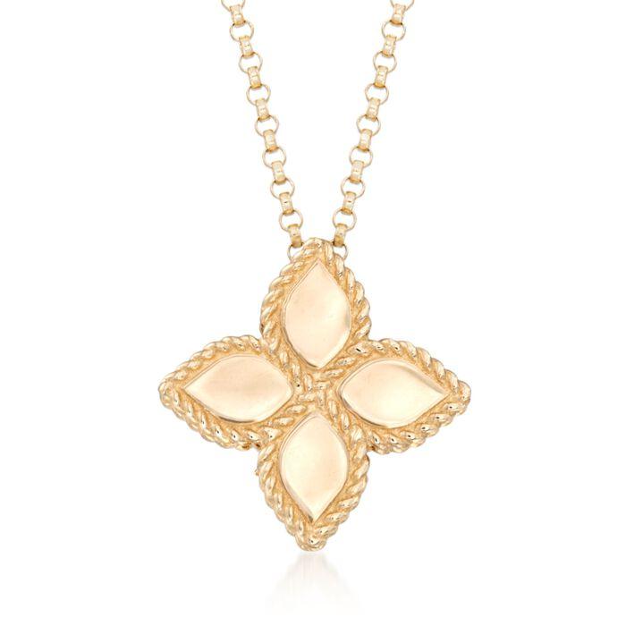 "Roberto Coin ""Princess"" 18kt Yellow Gold Medium Flower Pendant Necklace. 16"", , default"
