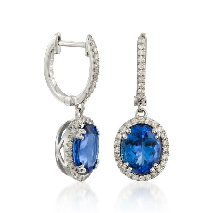 4.65 ct. t.w. Tanzanite and .50 ct. t.w. Diamond Drop Hoop Earrings in 14kt White Gold