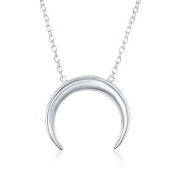 """Sterling Silver Crescent Horn Necklace. 16"""", , default"""