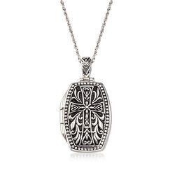 Sterling Silver Cross Locket Necklace With Black Enamel, , default